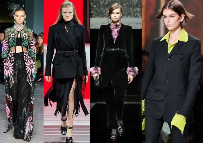 фото моделей женских костюмов черного цвета 2021 года из брендовых коллекций