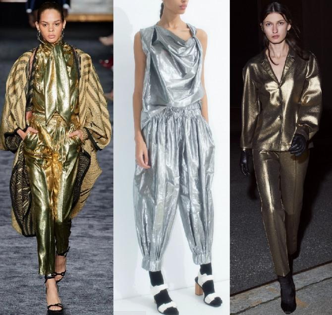 брючные женские костюмы из металлизированной ткани
