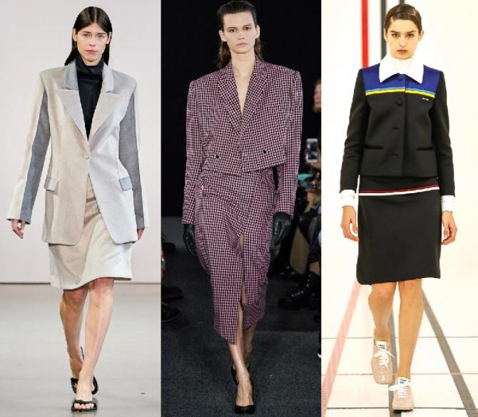 стильные деловые костюмы с жакетом и юбкой 2021 года для женщин - тренды и фото