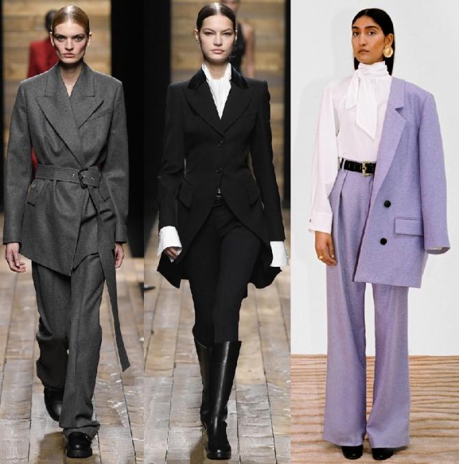 С какой обувью, аксессуарами, нижним слоем сочетать брендовые женские деловые костюмы 2021 года