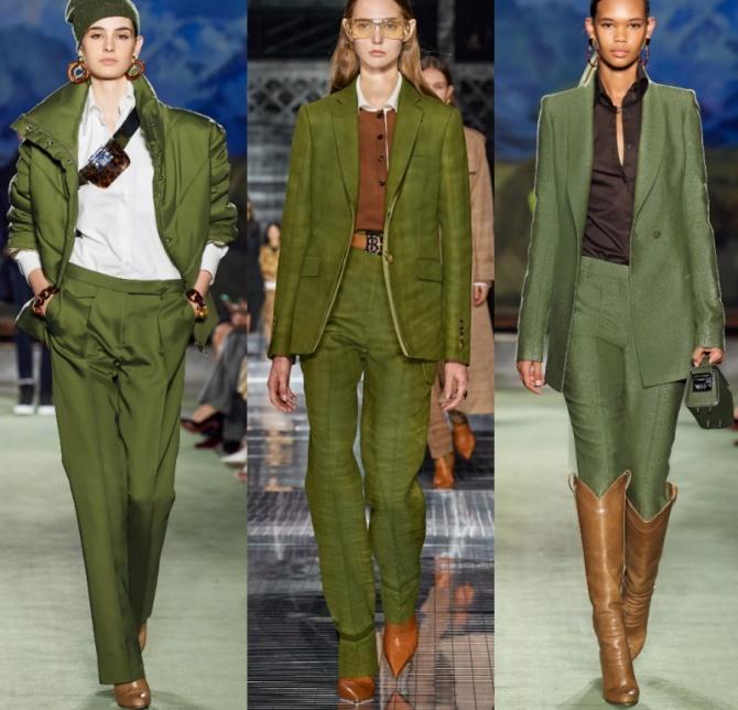 брючные женские костюмы осень-зима 2021 оливкого цвета