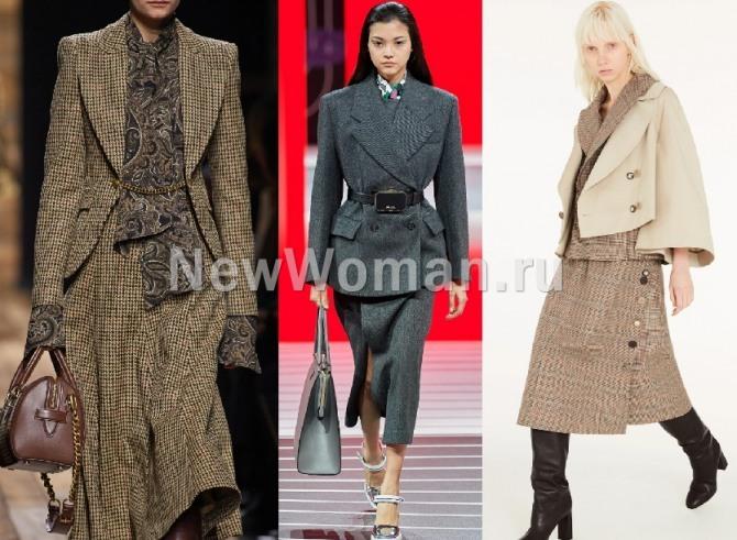 какие деловые костюмы для женщин самые модные в 2021 года - на фото варианты с юбками разных фасонов
