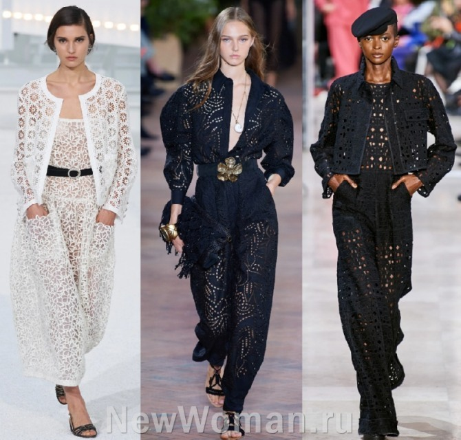 дорогие красивые кружевные ажурные костюмы - европейская женская мода 2021 года