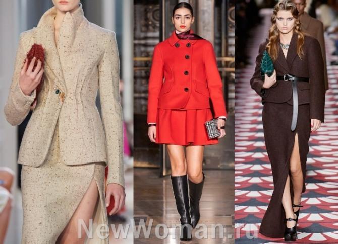 фото женских костюмов из шерсти - юбка плюс шерстяной жакет - модели с подиума 2021 года