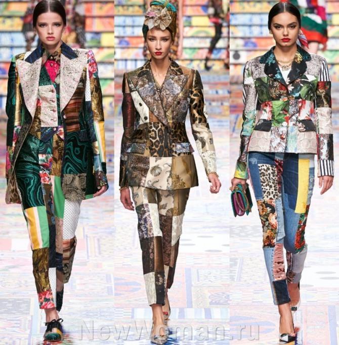 лоскутные костюмы Долче-Габбана 2021 года в стиле пэчворк
