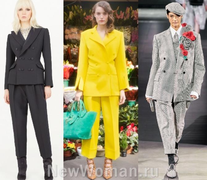 модные тенденции в женской одежде 2021 года - костюмы с брюками 7/8