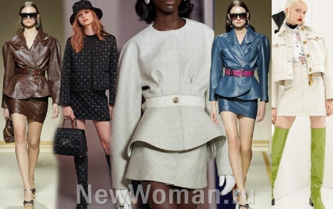 фото женских брендовых костюмов для девушек с мини юбкой - тренды 2021 года от кутюр