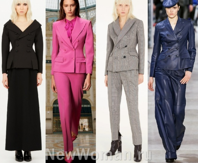 фото самых модных женских костюмов с приталенными пиджаками и жакетами с модных показов модных домов на 2021 год