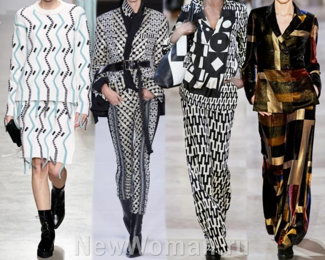женские комплекты-костюмы 2021 года с геометрическим принтом - фото с показов мировых брендов