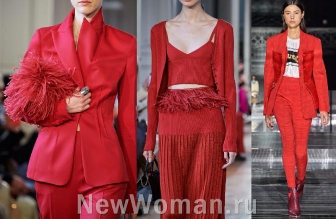 высокая мода - костюмы 2021 года от кутюр - женские комплекты красного цвета