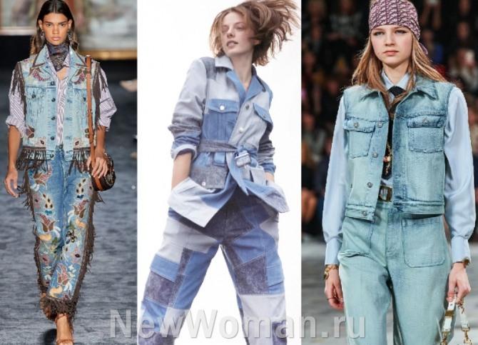 фото дизайнерских джинсовых костюмов с подиума 2021 года