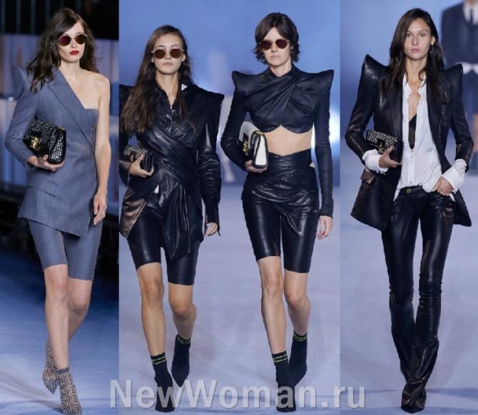 стильные дамские костюмы серого и черного цветов для вечернего выхода - люксовая мода 2021 года