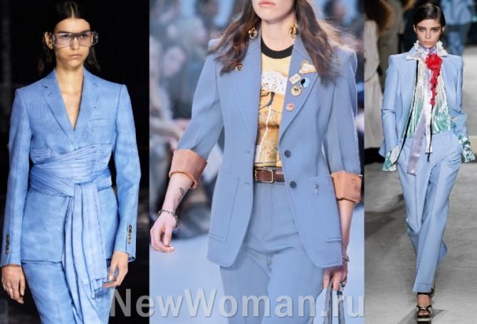 костюмы голубого цвета - обзор новинок 2021 года