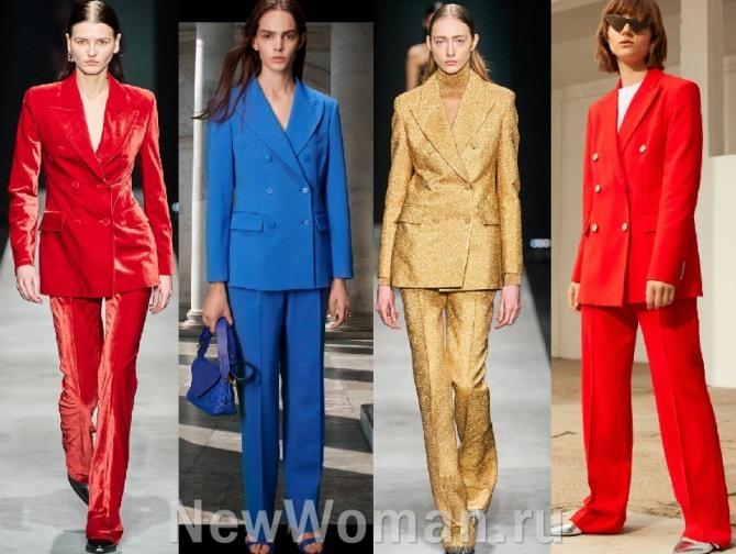 главные тенденции в женской моде 2021 года - цветные брючные яркие костюмы с двубортным пиджаком