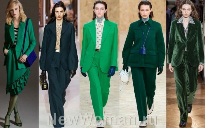 костюмы для женщин зеленого цвета - фото с подиумов мировых столиц
