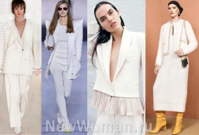 какие костюмы белого цвета модные в 2021 году - фото дизайнерских идей для девушек и женщин