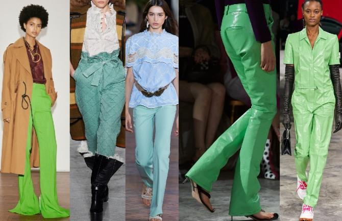 в 2021 году в моде женские брюки зеленого цвета различных оттенков