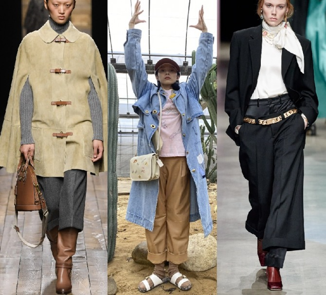 весенняя уличная женская мода 2021 года - укороченные брюки с заворотами и манжетами, фото из коллекций высокой моды