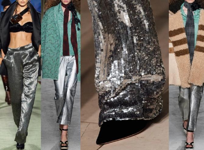 брюки металлика цвета серебра - модный тренд женской брючной моды 2021 года