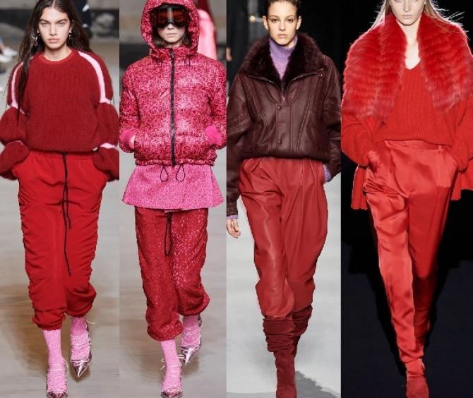брюки красного цвета в тренде в 2021 году - фото идей от стилистов модных домов
