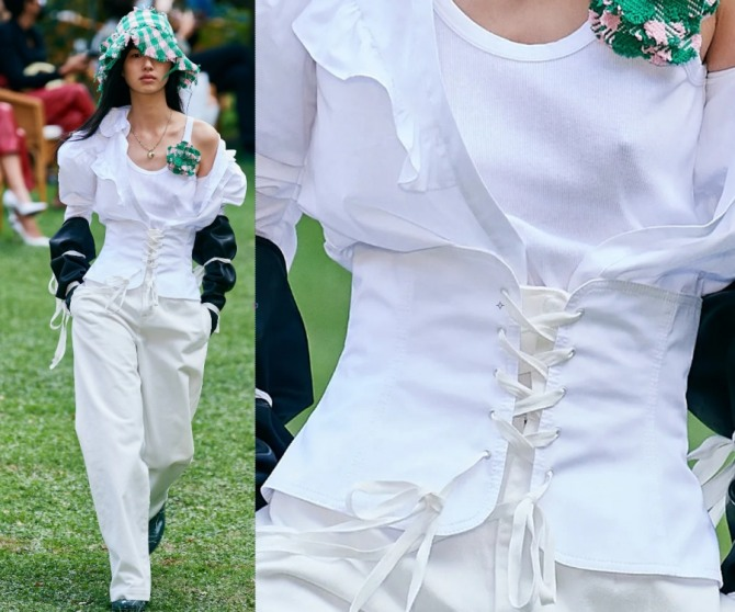 горячий тренд женской летней моды 2021 - брюки с накладным корсетным поясом на шнуровке