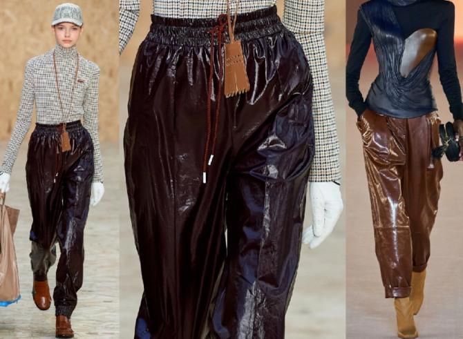 модели женских брюк из лака бордового и коричневого цвета - женские тренды 2021 года