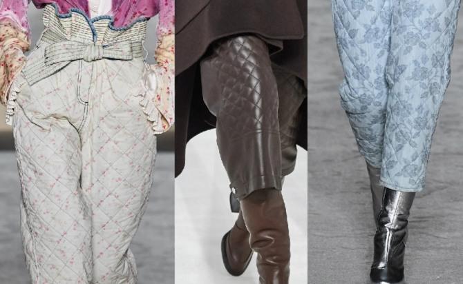 модели теплых женских брюк из стеганой ткани на зимний сезон 2021 года - стильные луки с модных показов европейской моды