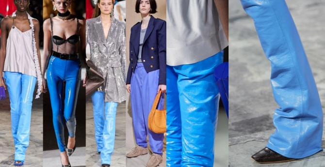 женские стильные брюки голубого, лазурного, василькового, небесного цвета с модных показов