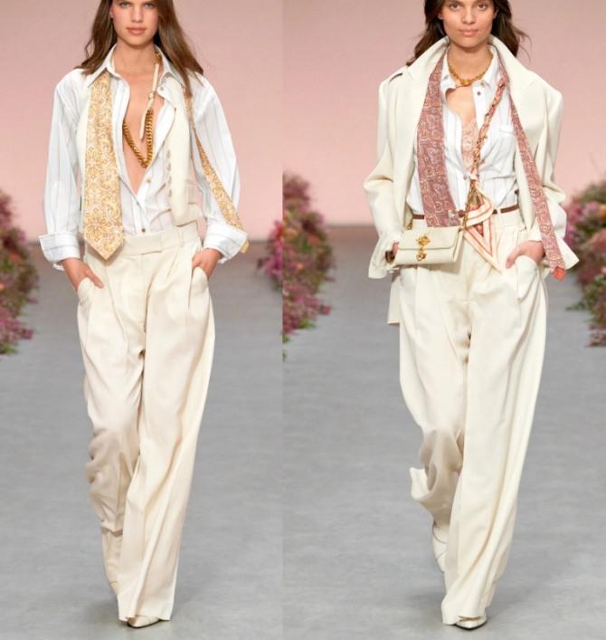 брюки классического покроя кремового цвета в комплекте с белыми блузками-рубашками - мода весна-лето 2021 года с мировых подиумов