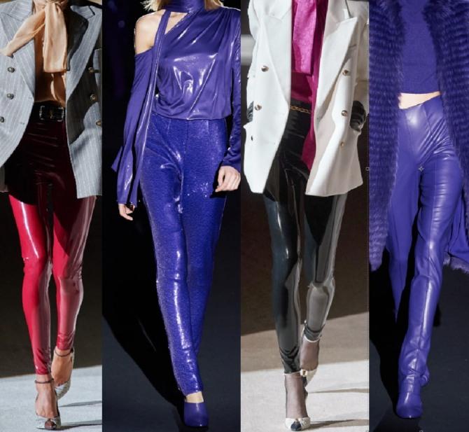 тренды в женской одежде 2021 года - брюки и лосины из латекса