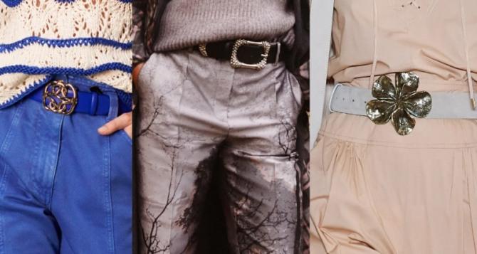примеры модного декора дизайнерских женских брюк 2021 год -  брюки м кожаными ремнями и крупными красивыми пряжками из металла желтого цвета
