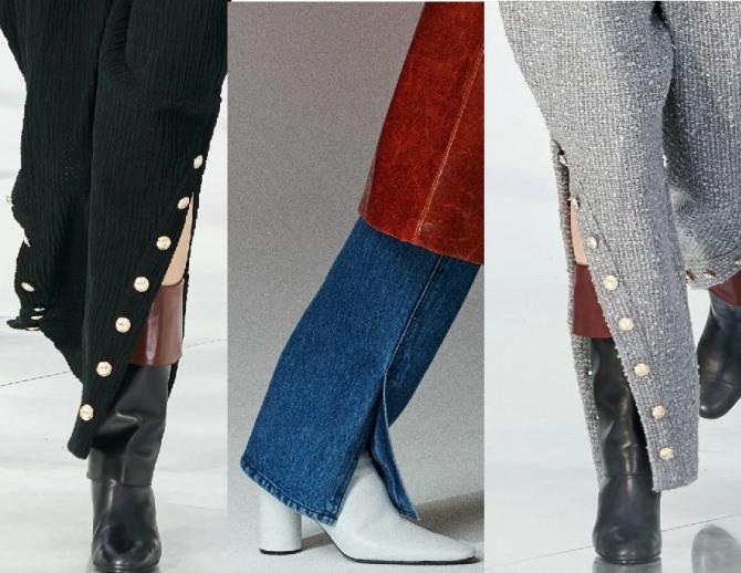 Женские брюки 2021 года - модные фасоны с боковыми разрезами на штанинах - одна из главных тенденций брючной моды, фото с подиума