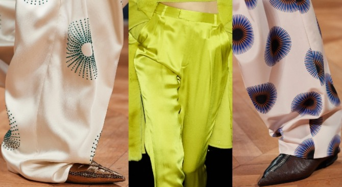 брюки 2021 года из шелка - фото с подиума
