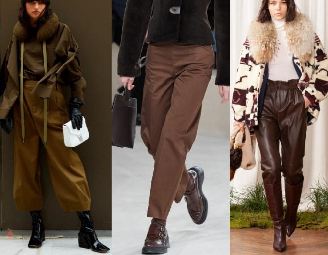 уличная осенне-зимняя мода 2021 года для девушек и женщин - фото образов с коричневыми брюками от стилистов модных домов