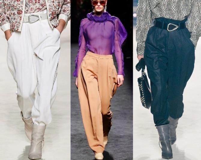 модный крой женских брюк 2021 года - широкие бедра и зауженный низ, заправленный в сапоги