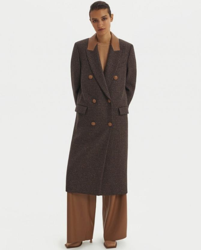 с какими брюками носить двубортное клетчатое пальто миди - женская уличная мода 2021