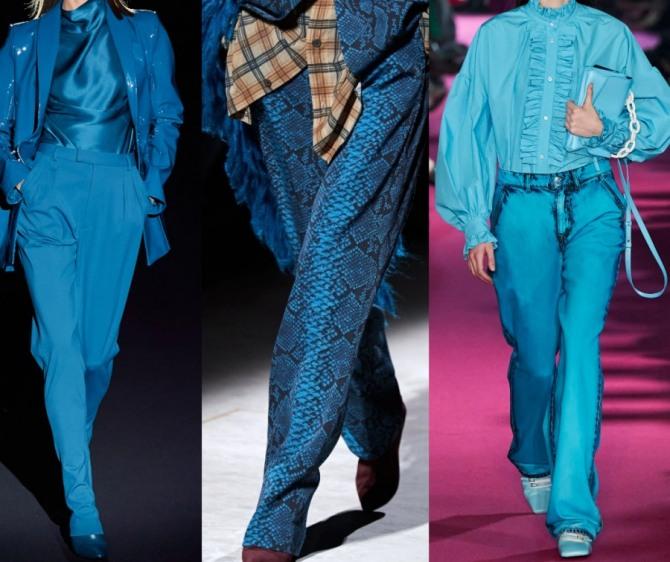 брюки цвета морской волны - модный тренд 2021 года в женской одежде