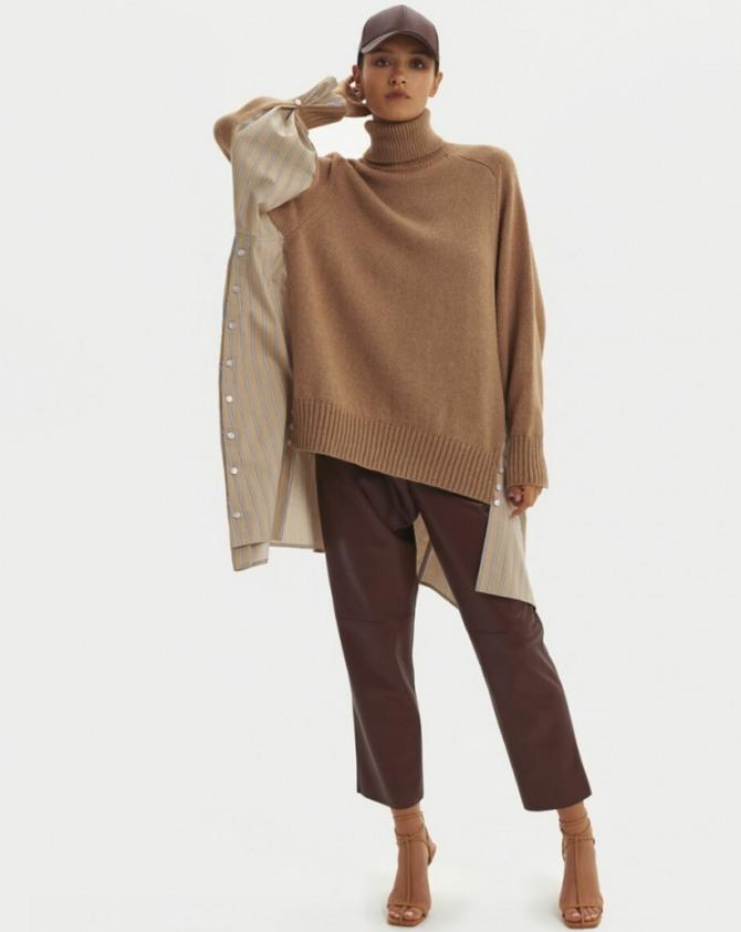 с какими брюками в 2021 году девушкам и женщинам сочетать зимний свитер - стильные образы с модных показов