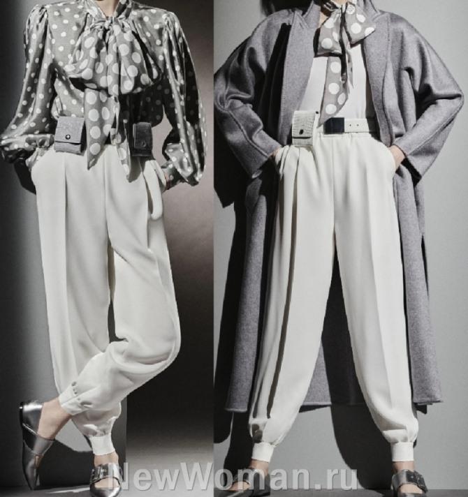 женские элегантные светлые брюки-шаровары на манжете с поясными кошельками - обзор модной женской одежды 2021 года, брюки и декор с аксессуарами