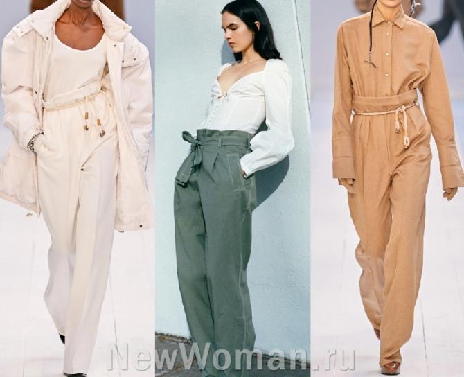 среди основных тенденций женской моды 2021 года - брюки с завышенной линией талии, подчеркнутой поясом или шнуром
