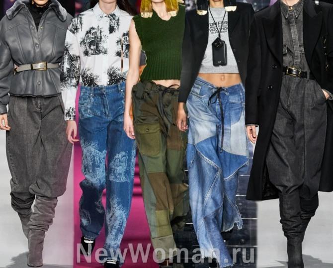 какие джинсовые женские брюки самые модные в 2021 году - стильные образы от мировых кутюрье