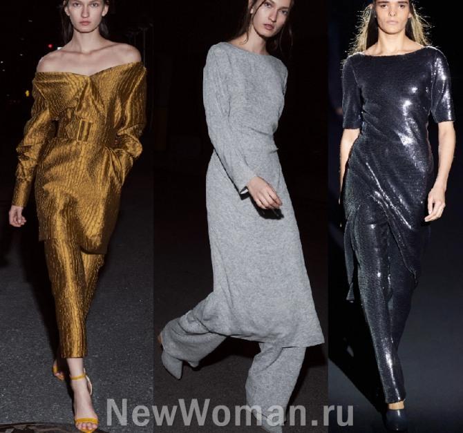 платье поверх брюк - модная тенденция 2021 года в повседневной и вечерней женской одежде 2021 года