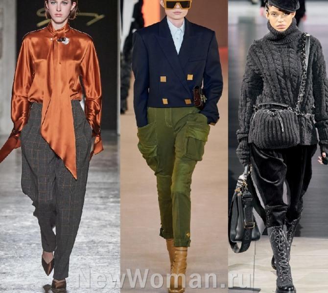 женские брюки галифе из шерсти и бархата - модный тренд 2021 года на холодный период